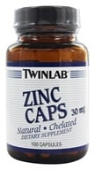 Twinlab - Le zinc couvre 30 mg. - 100 Capsules