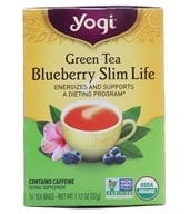 Yogi Tea - Green Tea Blueberry Slim Life - 16 Tea Bags Formerly Green Tea Slim Life (076950450578)