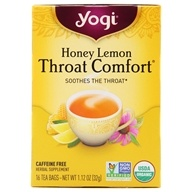 Yogi Tea - Honey Lemon Throat Comfort Organic Caffeine Free Tea - 16 Tea Bags
