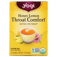 Image of Yogi Tea - Honey Lemon Throat Comfort Organic Caffeine Free Tea - 16 Tea Bags