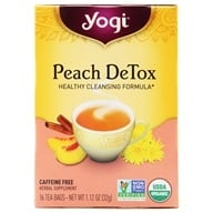 Image of Yogi Tea - Peach DeTox Organic Cleansing Tonic Tea Caffeine Free - 16 Tea Bags