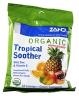 Zand - Herbalozenge Organic Tropical Soother with Zinc & Vitamin C Tropical Fruit Flavor - 18 Lozenges by Zand
