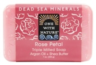 One With Nature - Dead Sea Mineral Bar Soap Mild Exfoliating Rose Petal - 7 oz. (893455000011)