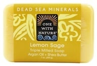 Image of One With Nature - Dead Sea Mineral Bar Soap Mild Exfoliating Lemon Sage - 7 oz.