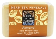 Image of One With Nature - Dead Sea Mineral Bar Soap Mild Exfoliating Almond - 7 oz.