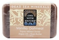 Image of One With Nature - Dead Sea Mineral Bar Soap Mild Exfoliating Vanilla Oatmeal - 7 oz.