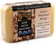 One With Nature - Dead Sea Mineral Bar Soap Exfoliating Coco Walnut - 7 oz.
