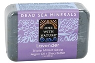 Image of One With Nature - Dead Sea Mineral Bar Soap Mild Exfoliating Lavender - 7 oz.