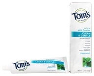 Image of Tom's of Maine - Natural Toothpaste Clean & Gentle With Fluoride Peppermint - 4.7 oz.