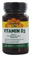 Country Life - Vitamin D3 1000 IU - 100 Softgels by Country Life