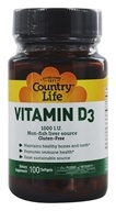 Country Life - Vitamin D3 1000 IU - 100 Softgels, from category: Vitamins & Minerals