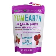 Yummy Earth - Organic Lollipops Gluten Free Vitamin C Pops Assorted Flavors - 3 oz. (85 g) 15 Lollipops