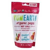 Yummy Earth - Organic Lollipops Gluten Free Hot Chili Flavors - 3 oz. (85g) 15 Lollipops (810165011625)