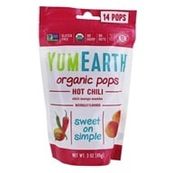 Yum Earth - Organic Lollipops Gluten Free Hot Chili Flavors - 3 oz. (85g) 15 Lollipops