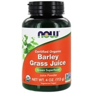 NOW Foods - Barley Grass Juice Powder Certified Organic - 4 oz. (733739026590)