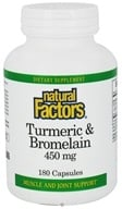 Natural Factors - Turmeric & Bromelain 450 mg. - 180 Capsules