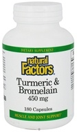 Natural Factors - Turmeric & Bromelain 450 mg. - 180 Capsules - $38.37