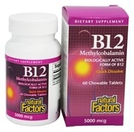 Natural Factors - B12 Methylcobalamin High Potency 5000 mcg. - 60 Tablets, from category: Homeopathy