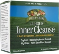 Garden Greens - Inner Cleanse 24 Hour 7 Day Intestinal Cleansing Formula - 84 Tablets