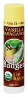 Badger - Certified Organic Lip Balm Stick Vanilla Madagascar - 0.15 oz.
