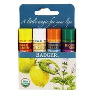 Badger - Classic Lip Balm Variety Pack - 4 x 0.15 oz.