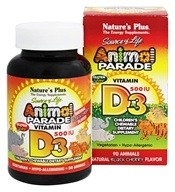 Nature's Plus - Animal Parade Vitamin D3 Black Cherry - 90 Chewable Tablets - $5.63