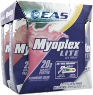 EAS - Myoplex Lite RTD 20g Protein Shake Strawberry Cream - 4 Pack