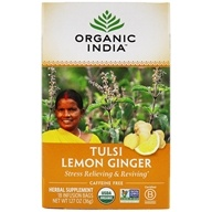 Organic India - Tulsi Tea Lemon Ginger - 18 Tea Bags (801541500086)