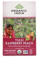 Organic India - Tulsi Tea Raspberry Peach - 18 Tea Bags (801541500130)