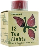 Aloha Bay - 100% Vegetable Palm Wax Tea Light Candles Unscented Red - 12 Pack by Aloha Bay