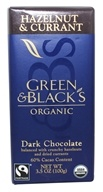 Image of Green & Black's Organic - Hazelnut and Currant Dark Chocolate Bar 60% Cocoa - 3.5 oz.
