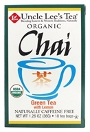 Uncle Lee's Tea - 100% Organic Chai Green Tea Low Caffeine with Lemon - 18 Tea Bags (049606203163)