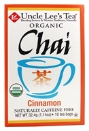 Uncle Lee's Tea - 100% Organic Chai Tea Caffeine Free Cinnamon - 18 Tea Bags