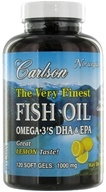 Carlson Labs - The Very Finest Norwegian Fish Oil Omega-3's DHA & EPA Lemon Flavor 1000 mg. - 120 Softgels (088395016318)