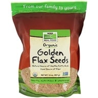 NOW Foods - Certified Organic Golden Flax Seeds - 2 lbs. (733739062765)