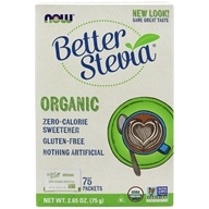 NOW Foods - Better Stevia Xero Calorie Sweetener Certified Organic - 75 Packet(s) (733739069429)