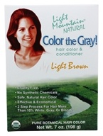 Image of Light Mountain Natural - Color The Gray Hair Color & Conditioner Kit Light Brown - 7 oz.
