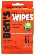 Image of Ben's - Tick & Insect Repellent Wipes - 12 Wipe(s)