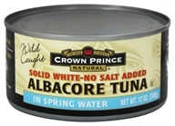Crown Prince Natural - Solid White Albacore Tuna No Salt Added - 12 oz.