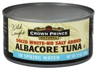 Crown Prince Natural - Solid White Albacore Tuna No Salt Added - 12 oz. by Crown Prince Natural