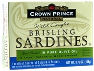 Crown Prince Natural - Brisling Sardines in Pure Olive Oil - 3.75 oz. CLEARANCE PRICED