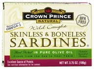 Crown Prince Natural - Skinless and Boneless Sardines in Pure Olive Oil - 3.75 oz. (073230008337)