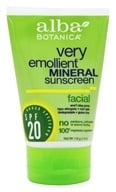 Alba Botanica - Very Emollient Mineral Protection Facial Sunblock Fragrance Free 20 SPF - 4 oz. by Alba Botanica