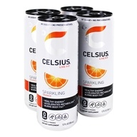 Celsius - Sparkling Orange - 4 x 12 oz.(355ml) Cans by Celsius