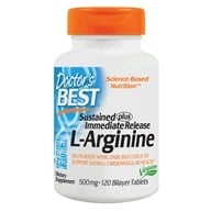 Image of Doctor's Best - L-Arginine Sustained plus Immediate Release 500 mg. - 120 Tablets