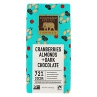 Endangered Species - Dark Chocolate Bar 72% Cocoa Cranberries & Almonds - 3 oz.