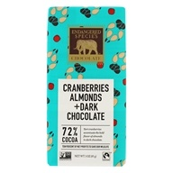 Endangered Species - Dark Chocolate Bar with Cranberries & Almonds 72% Cocoa - 3 oz. by Endangered Species