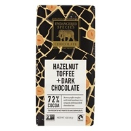 Endangered Species - Dark Chocolate Bar 72% Cocoa Hazlenut Toffee - 3 oz.