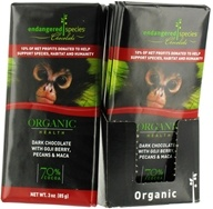 Image of Endangered Species - Dark Chocolate Bar with Goji Berry, Pecans & Maca 70% Cocoa - 3 oz.
