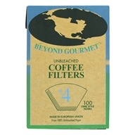 Beyond Gourmet - Unbleached Coffee Filters #4 Cone Style - 100 Filter(s), from category: Housewares & Cleaning Aids